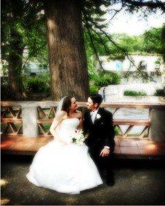 Riverwalk bench wedding