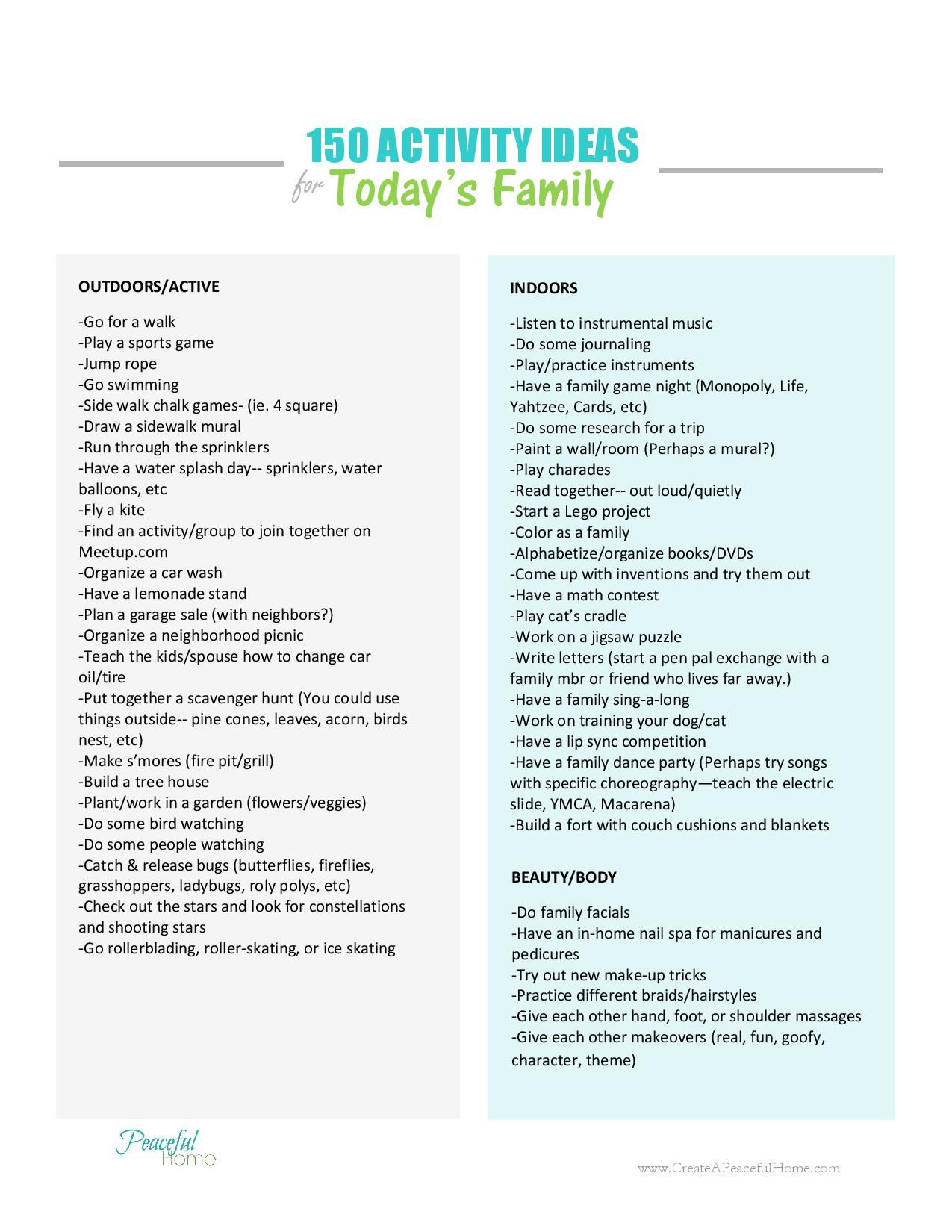 150 Activity Ideas for Today's Family | CreateAPeacefulHome.com